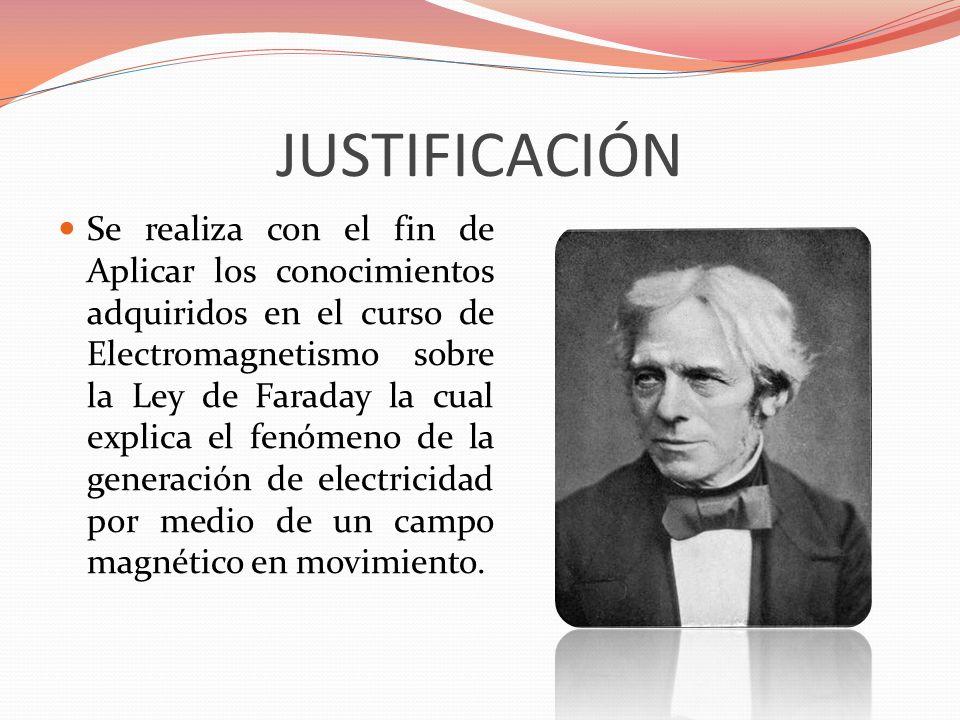JUSTIFICACIÓN Se realiza con el fin de Aplicar los conocimientos adquiridos en el curso de Electromagnetismo sobre la Ley de Faraday la cual explica e