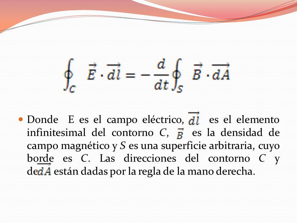 Donde E es el campo eléctrico, es el elemento infinitesimal del contorno C, es la densidad de campo magnético y S es una superficie arbitraria, cuyo b