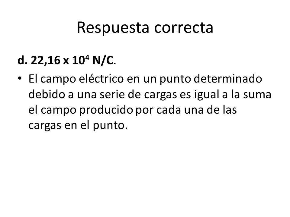 El campo eléctrico en un punto determinado debido a una serie de cargas es igual a la suma el campo producido por cada una de las cargas en el punto.