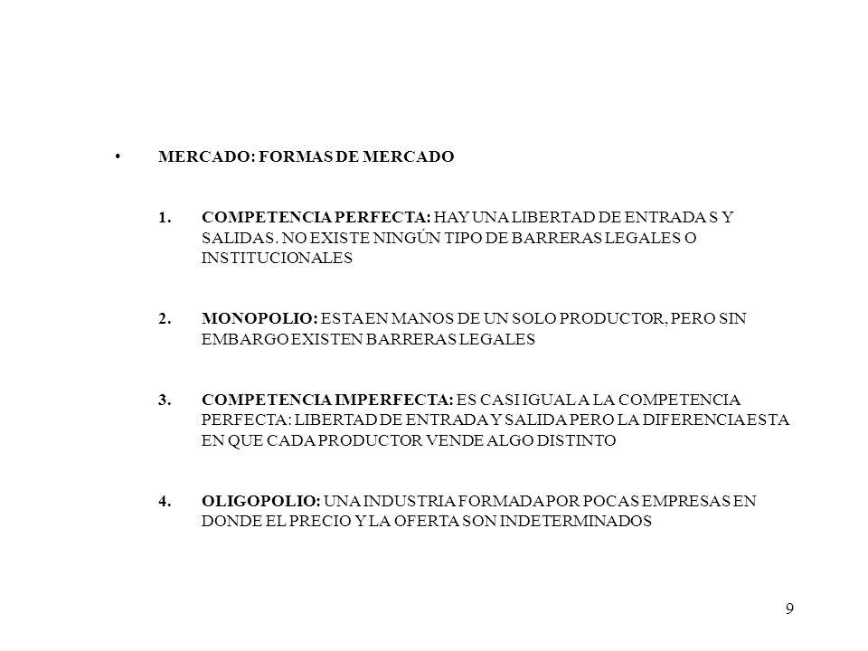 9 MERCADO: FORMAS DE MERCADO 1.COMPETENCIA PERFECTA: HAY UNA LIBERTAD DE ENTRADA S Y SALIDAS. NO EXISTE NINGÚN TIPO DE BARRERAS LEGALES O INSTITUCIONA