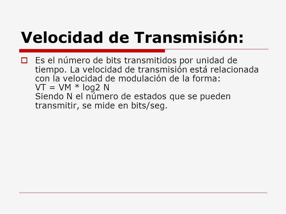 Velocidad de Transmisión: Es el número de bits transmitidos por unidad de tiempo. La velocidad de transmisión está relacionada con la velocidad de mod
