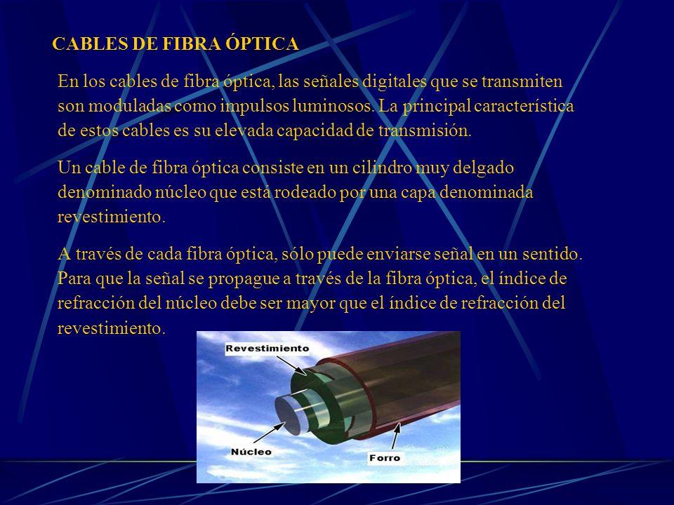 CABLES DE FIBRA ÓPTICA En los cables de fibra óptica, las señales digitales que se transmiten son moduladas como impulsos luminosos. La principal cara