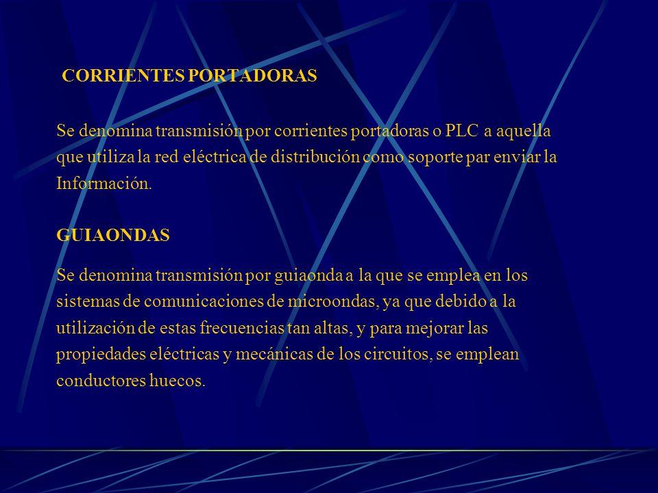 CORRIENTES PORTADORAS Se denomina transmisión por corrientes portadoras o PLC a aquella que utiliza la red eléctrica de distribución como soporte par
