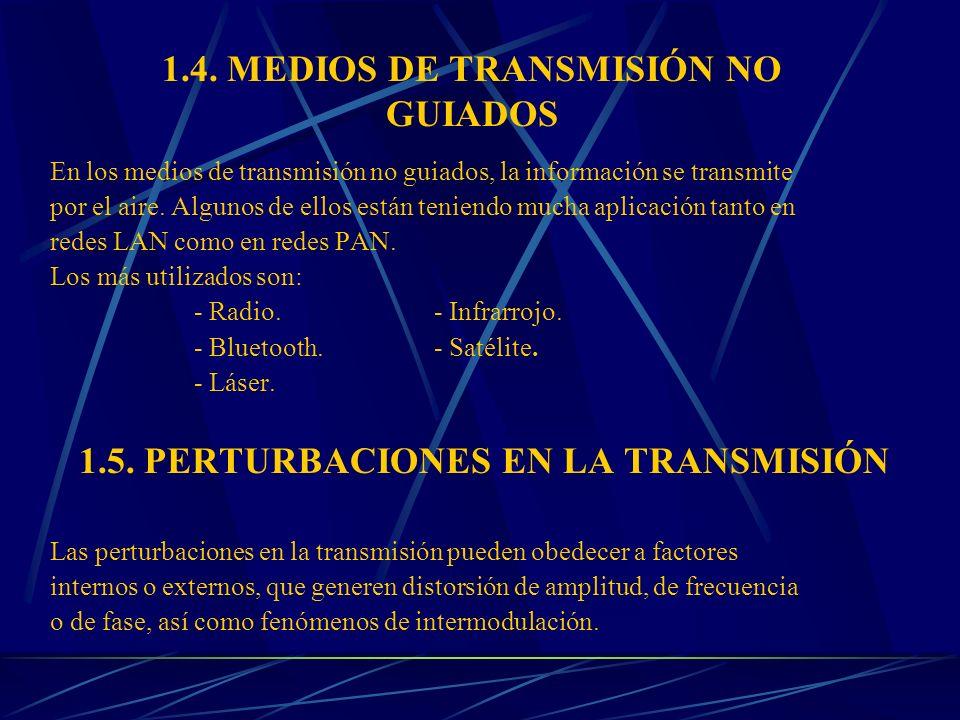 1.4. MEDIOS DE TRANSMISIÓN NO GUIADOS En los medios de transmisión no guiados, la información se transmite por el aire. Algunos de ellos están teniend