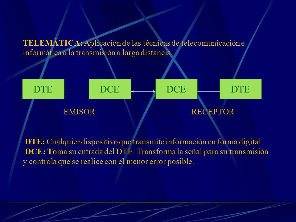 TELEMÁTICA: Aplicación de las técnicas de telecomunicación e informática a la transmisión a larga distancia. EMISOR RECEPTOR DTE: Cualquier dispositiv