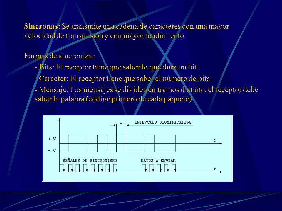 Sincronas: Se transmite una cadena de caracteres con una mayor velocidad de transmisión y con mayor rendimiento. Formas de sincronizar. - Bits: El rec