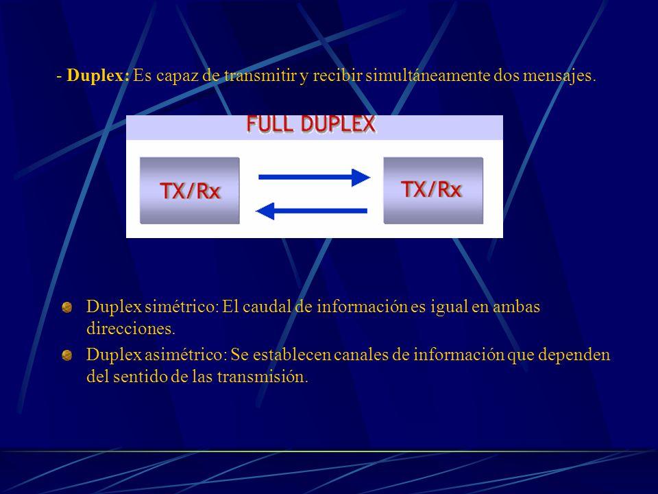 - Duplex: Es capaz de transmitir y recibir simultáneamente dos mensajes. Duplex simétrico: El caudal de información es igual en ambas direcciones. Dup