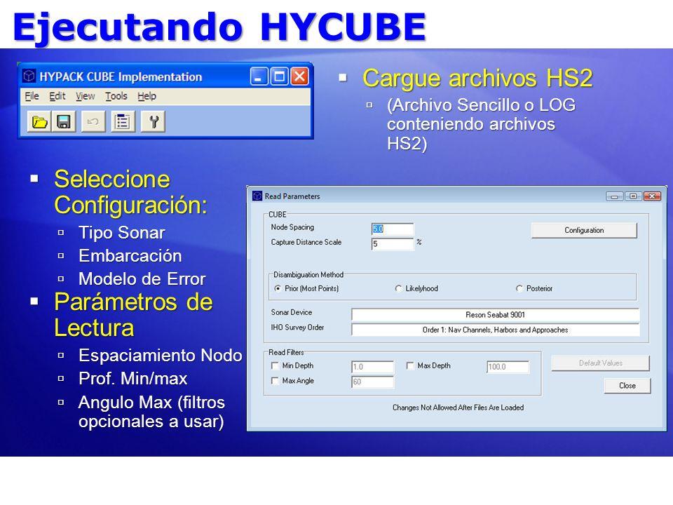 Ejecutando HYCUBE Cargue archivos HS2 Cargue archivos HS2 (Archivo Sencillo o LOG conteniendo archivos HS2) (Archivo Sencillo o LOG conteniendo archiv