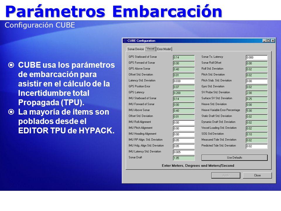 Parámetros Embarcación Parámetros Embarcación Configuración CUBE CUBE usa los parámetros de embarcación para asistir en el cálculo de la Incertidumbre