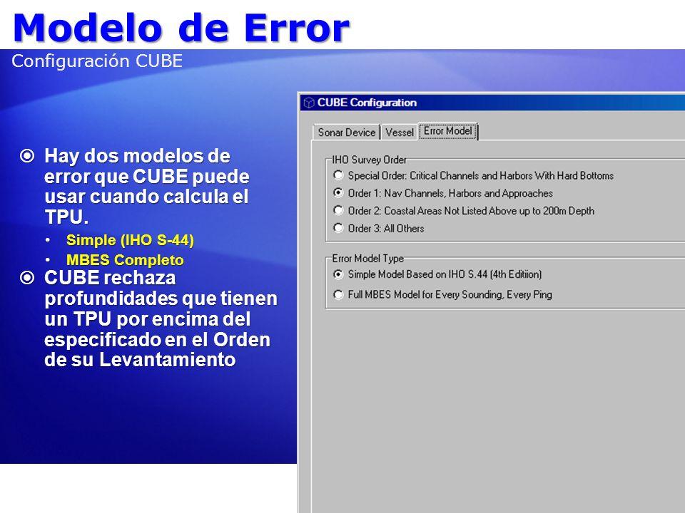 Modelo de Error Modelo de Error Configuración CUBE Hay dos modelos de error que CUBE puede usar cuando calcula el TPU. Hay dos modelos de error que CU