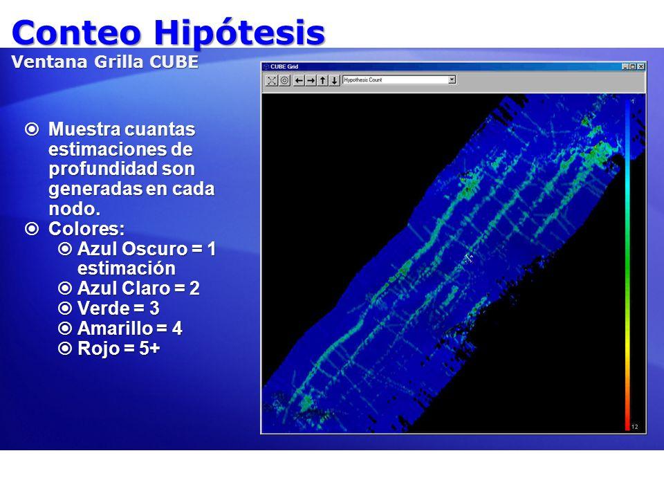 Conteo Hipótesis Ventana Grilla CUBE Muestra cuantas estimaciones de profundidad son generadas en cada nodo. Muestra cuantas estimaciones de profundid