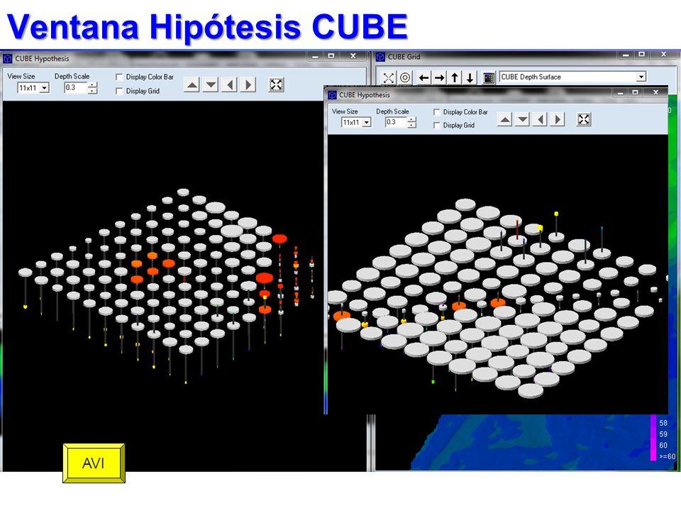 Ventana Hipótesis CUBE Estimación de profundidad seleccionada es blanca.Estimación de profundidad seleccionada es blanca. Tamaño del disco se relacion