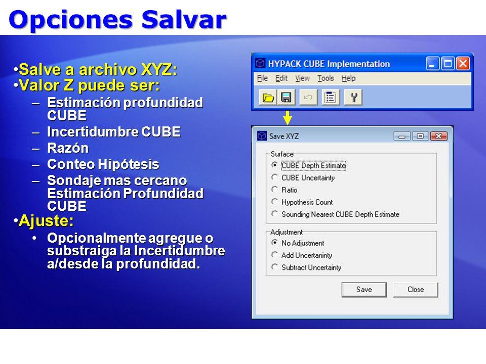 Opciones Salvar Salve a archivo XYZ:Salve a archivo XYZ: Valor Z puede ser:Valor Z puede ser: –Estimación profundidad CUBE –Incertidumbre CUBE –Razón