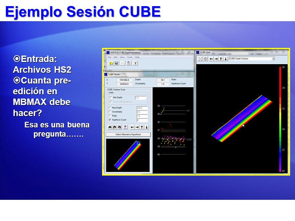 Ejemplo Sesión CUBE Entrada: Archivos HS2 Entrada: Archivos HS2 Cuanta pre- edición en MBMAX debe hacer? Cuanta pre- edición en MBMAX debe hacer? Esa