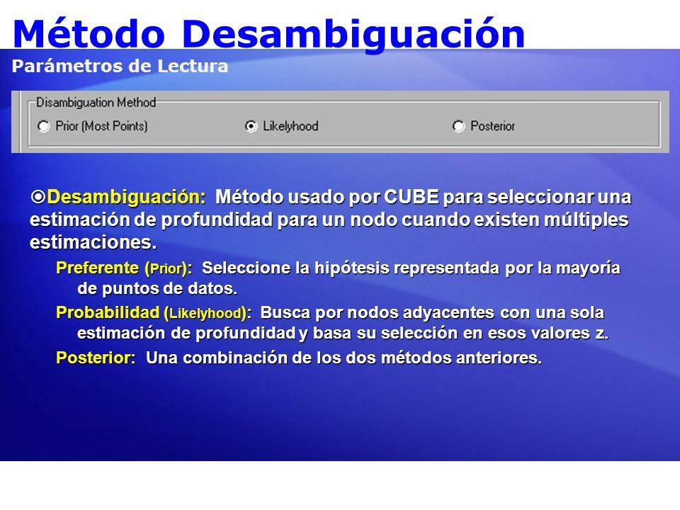 Método Desambiguación Parámetros de Lectura Desambiguación: Método usado por CUBE para seleccionar una estimación de profundidad para un nodo cuando e