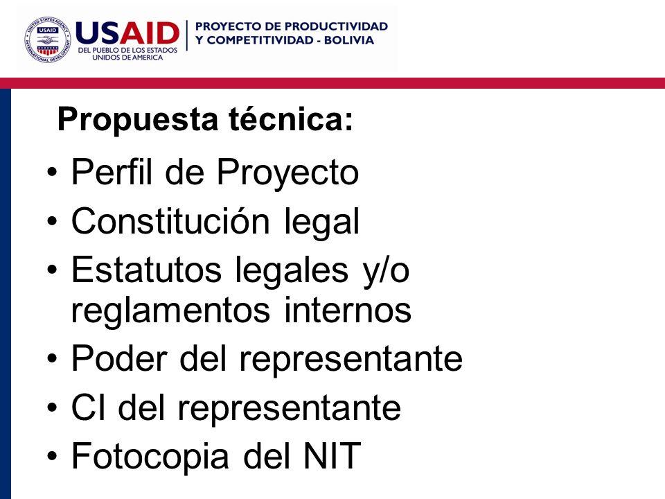 Propuesta técnica: Perfil de Proyecto Constitución legal Estatutos legales y/o reglamentos internos Poder del representante CI del representante Fotocopia del NIT
