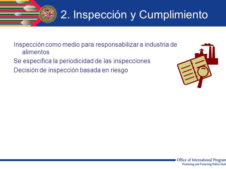 2. Inspección y Cumplimiento Inspección como medio para responsabilizar a industria de alimentos Se especifica la periodicidad de las inspecciones Dec