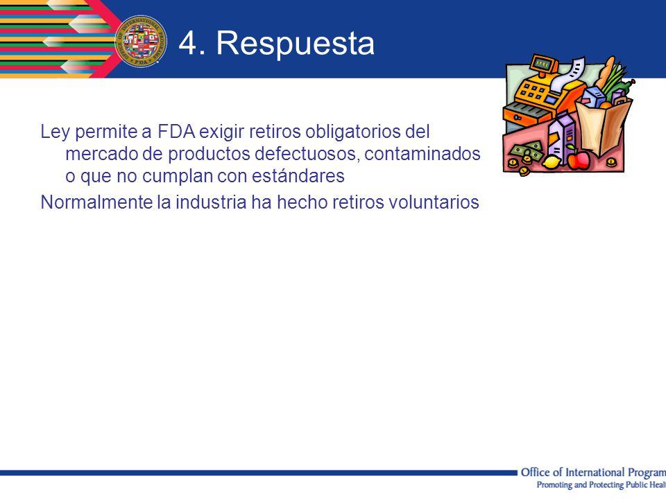 4. Respuesta Ley permite a FDA exigir retiros obligatorios del mercado de productos defectuosos, contaminados o que no cumplan con estándares Normalme