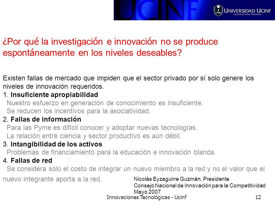 Innovaciones Tecnológicas - Ucinf12 ¿ Por qu é la investigaci ó n e innovaci ó n no se produce espont á neamente en los niveles deseables? Existen fal