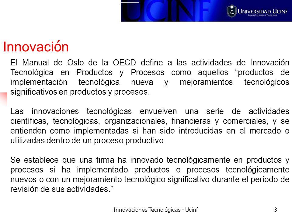 Innovaciones Tecnológicas - Ucinf3 Innovaci ó n El Manual de Oslo de la OECD define a las actividades de Innovación Tecnológica en Productos y Proceso