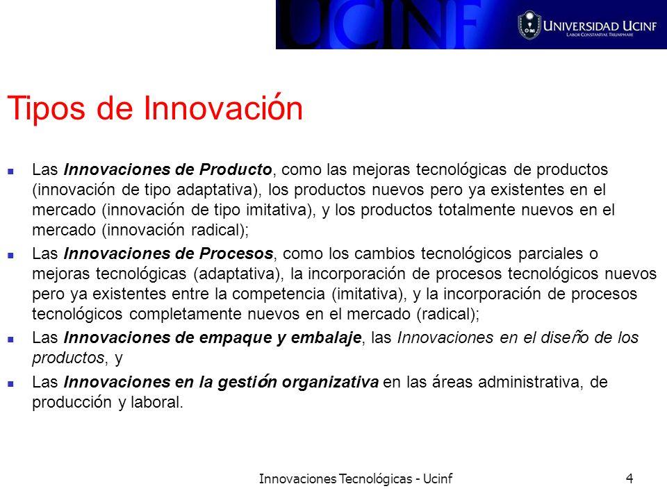 Innovaciones Tecnológicas - Ucinf4 Tipos de Innovaci ó n Las Innovaciones de Producto, como las mejoras tecnol ó gicas de productos (innovaci ó n de t
