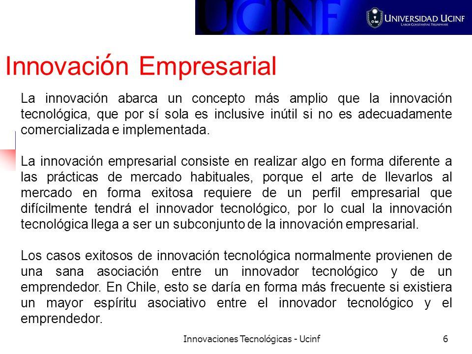 Innovaciones Tecnológicas - Ucinf6 Innovaci ó n Empresarial La innovación abarca un concepto más amplio que la innovación tecnológica, que por sí sola