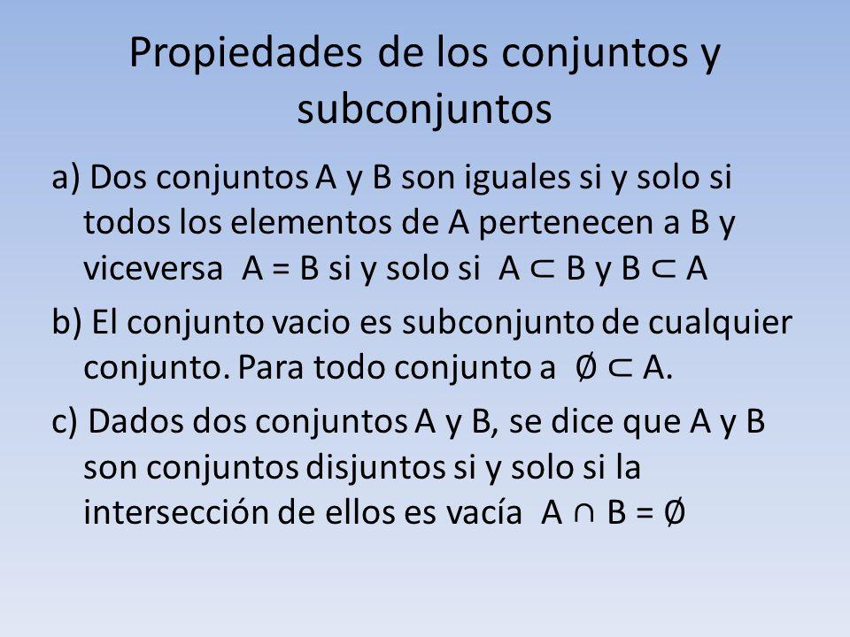 Propiedades de los conjuntos y subconjuntos a) Dos conjuntos A y B son iguales si y solo si todos los elementos de A pertenecen a B y viceversa A = B