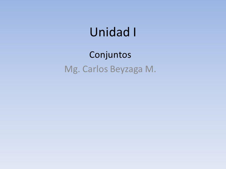 Unidad I Conjuntos Mg. Carlos Beyzaga M.