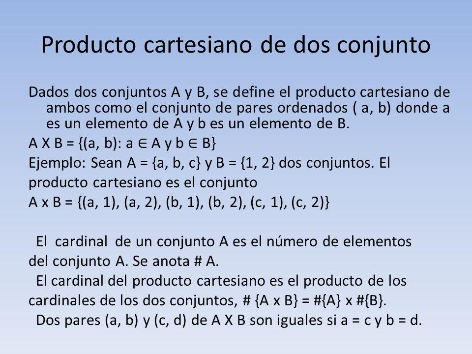 Producto cartesiano de dos conjunto Dados dos conjuntos A y B, se define el producto cartesiano de ambos como el conjunto de pares ordenados ( a, b) d
