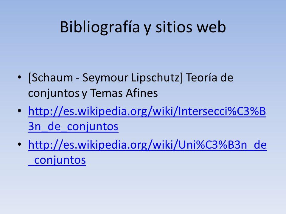Bibliografía y sitios web [Schaum - Seymour Lipschutz] Teoría de conjuntos y Temas Afines http://es.wikipedia.org/wiki/Intersecci%C3%B 3n_de_conjuntos