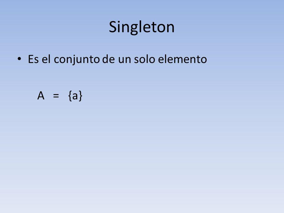 Singleton Es el conjunto de un solo elemento A = {a}