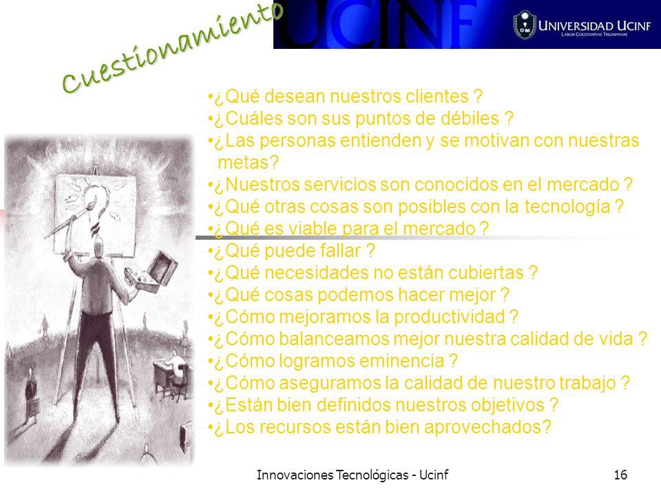 Innovaciones Tecnológicas - Ucinf16 Cuestionamiento ¿Qué desean nuestros clientes .