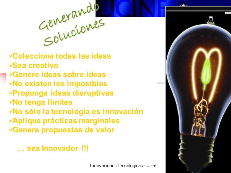 Innovaciones Tecnológicas - Ucinf18 Generando Soluciones Coleccione todas las ideas Sea creativo Genere ideas sobre ideas No existen los imposibles Proponga ideas disruptivas No tenga límites No sólo la tecnología es innovación Aplique prácticas marginales Genere propuestas de valor … sea Innovador !!!