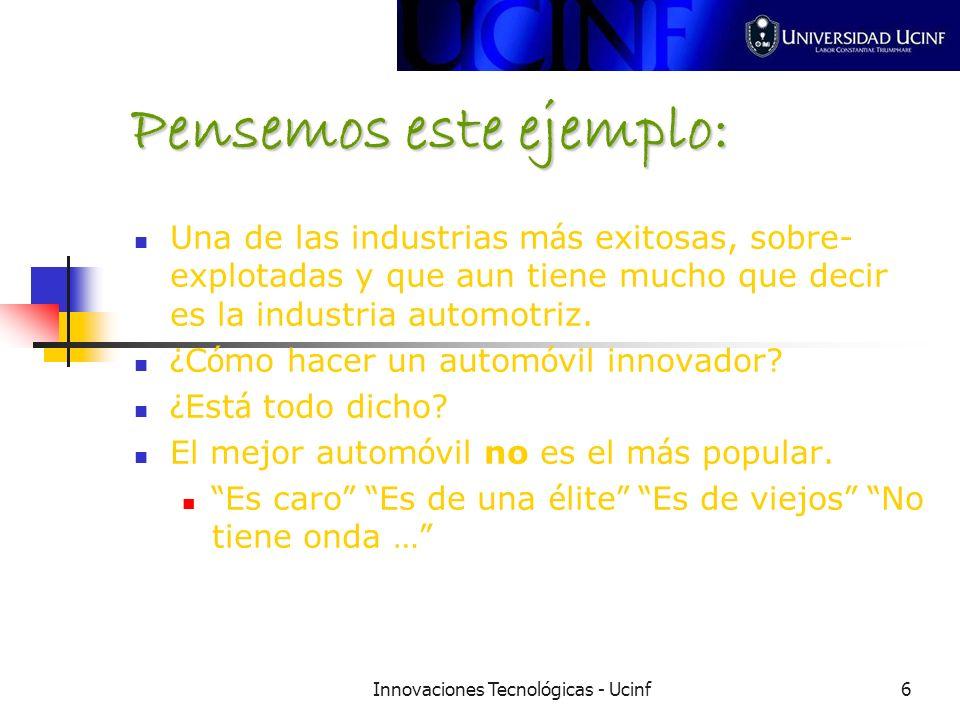 Innovaciones Tecnológicas - Ucinf6 Pensemos este ejemplo: Una de las industrias m á s exitosas, sobre- explotadas y que aun tiene mucho que decir es la industria automotriz.