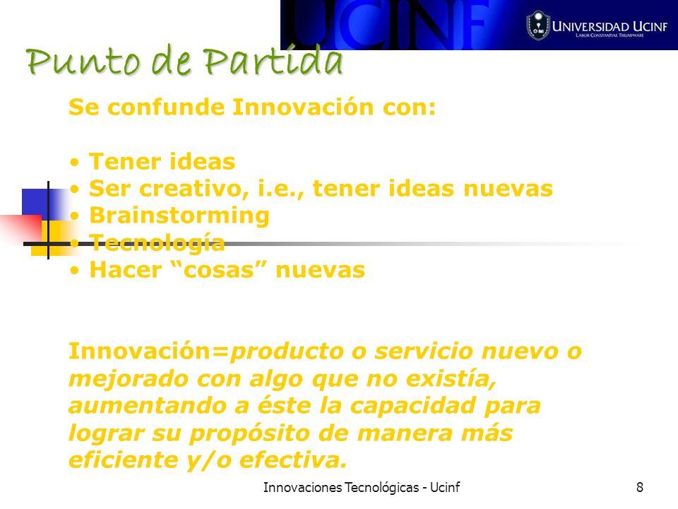 Innovaciones Tecnológicas - Ucinf8 Se confunde Innovación con: Tener ideas Ser creativo, i.e., tener ideas nuevas Brainstorming Tecnología Hacer cosas nuevas Innovación=producto o servicio nuevo o mejorado con algo que no existía, aumentando a éste la capacidad para lograr su propósito de manera más eficiente y/o efectiva.