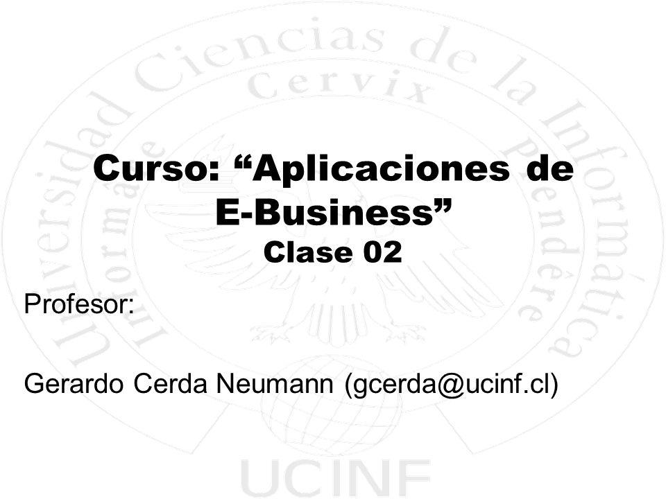 Electivo Aplicaciones de E-Business Facultad de Ingeniería y Negocios - UCINF 2 Objetivos del curso General: Conocer el funcionamiento de una empresa con características de E-Business.