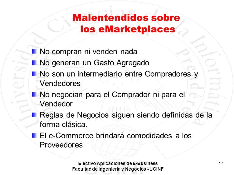 Electivo Aplicaciones de E-Business Facultad de Ingeniería y Negocios - UCINF 14 Malentendidos sobre los eMarketplaces No compran ni venden nada No ge