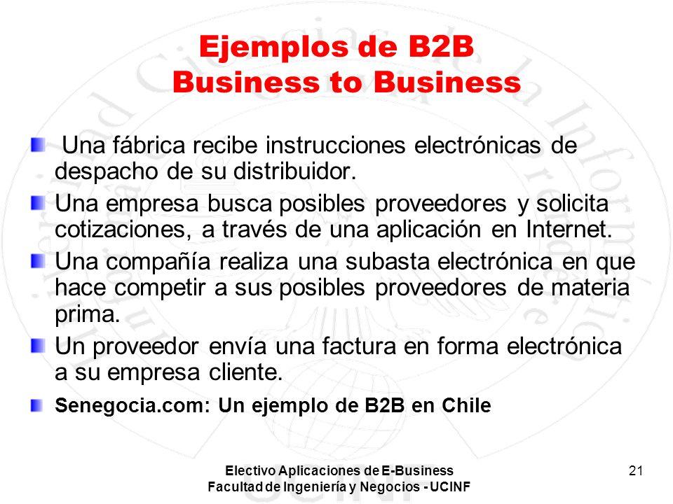 Electivo Aplicaciones de E-Business Facultad de Ingeniería y Negocios - UCINF 21 Ejemplos de B2B Business to Business Una fábrica recibe instrucciones