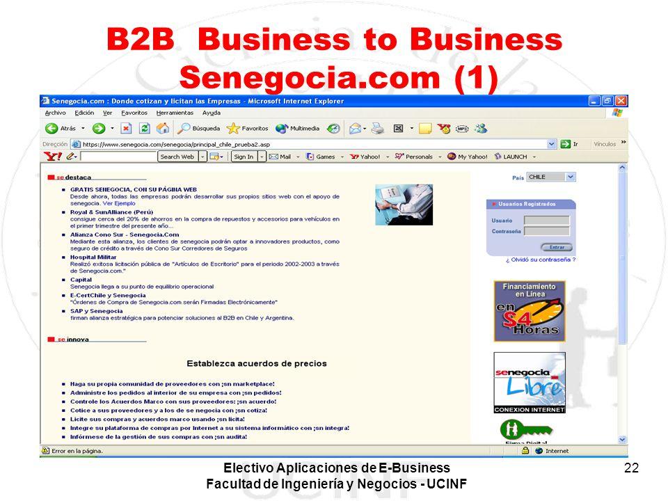 Electivo Aplicaciones de E-Business Facultad de Ingeniería y Negocios - UCINF 22 B2B Business to Business Senegocia.com (1)