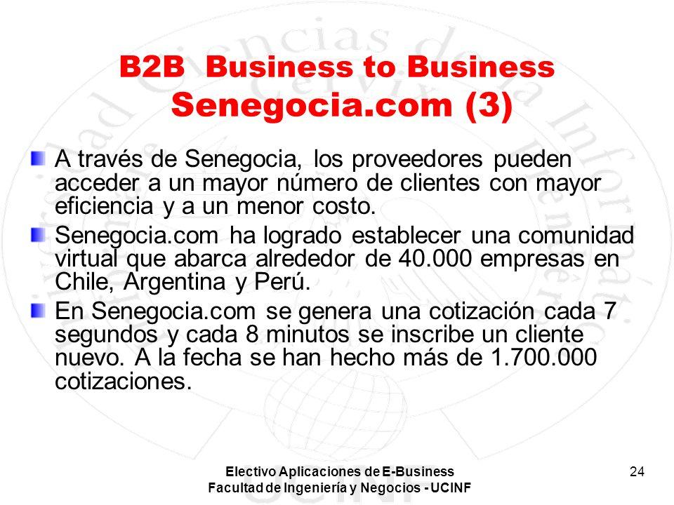 Electivo Aplicaciones de E-Business Facultad de Ingeniería y Negocios - UCINF 24 B2B Business to Business Senegocia.com (3) A través de Senegocia, los