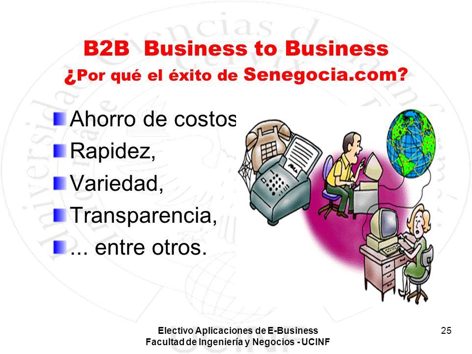 Electivo Aplicaciones de E-Business Facultad de Ingeniería y Negocios - UCINF 25 B2B Business to Business ¿ Por qué el éxito de Senegocia.com? Ahorro