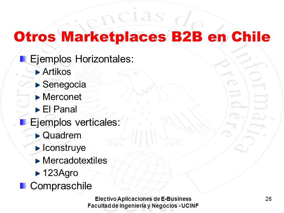 Electivo Aplicaciones de E-Business Facultad de Ingeniería y Negocios - UCINF 26 Otros Marketplaces B2B en Chile Ejemplos Horizontales: Artikos Senego