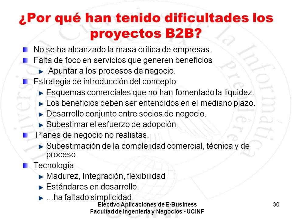 Electivo Aplicaciones de E-Business Facultad de Ingeniería y Negocios - UCINF 30 ¿Por qué han tenido dificultades los proyectos B2B? No se ha alcanzad