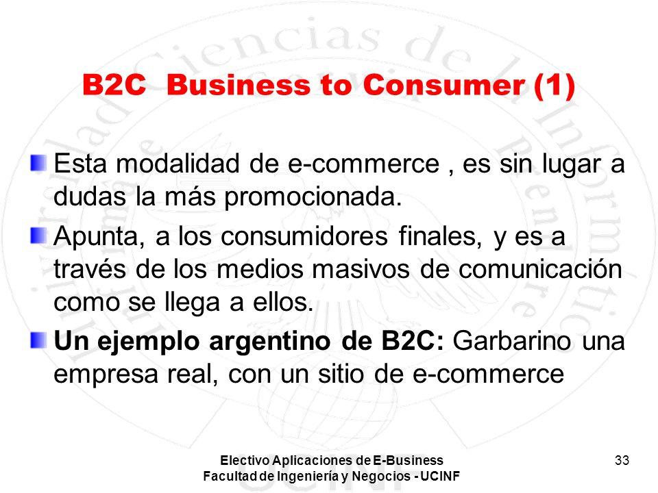 Electivo Aplicaciones de E-Business Facultad de Ingeniería y Negocios - UCINF 33 B2C Business to Consumer (1) Esta modalidad de e-commerce, es sin lug