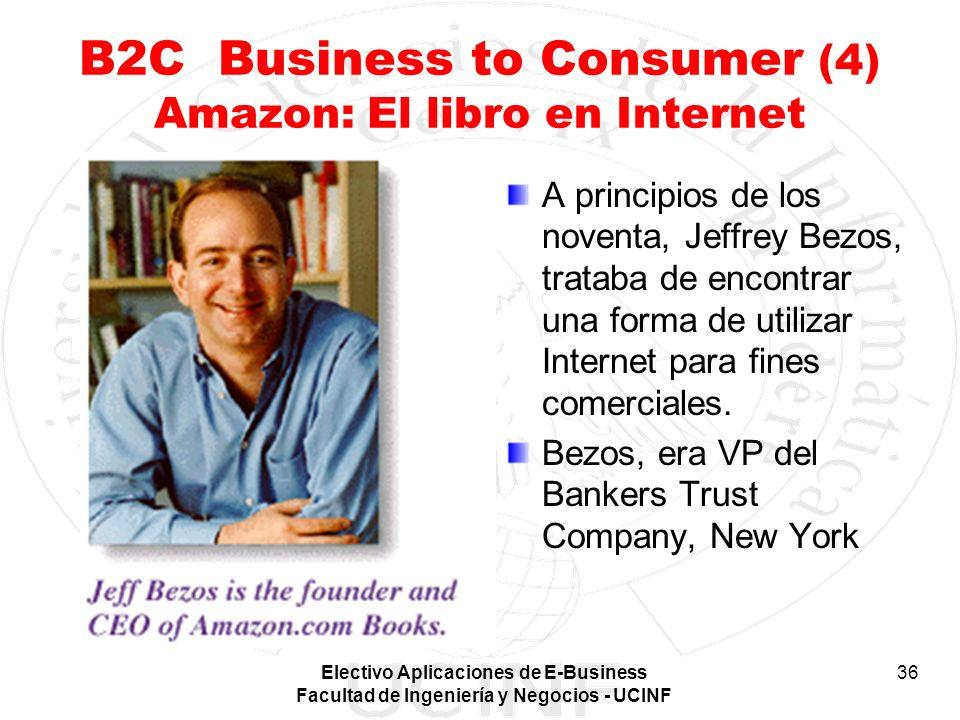 Electivo Aplicaciones de E-Business Facultad de Ingeniería y Negocios - UCINF 36 B2C Business to Consumer (4) Amazon: El libro en Internet A principio