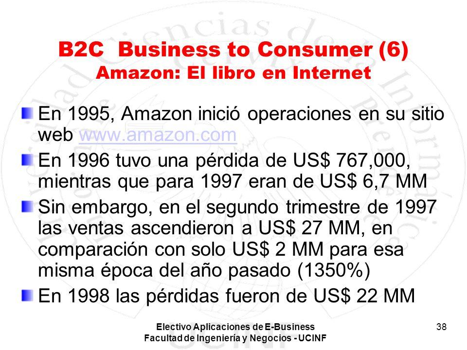 Electivo Aplicaciones de E-Business Facultad de Ingeniería y Negocios - UCINF 38 B2C Business to Consumer (6) Amazon: El libro en Internet En 1995, Am