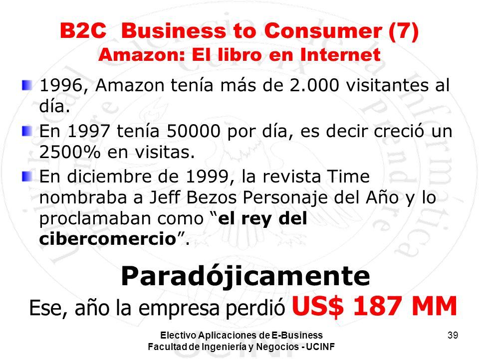 Electivo Aplicaciones de E-Business Facultad de Ingeniería y Negocios - UCINF 39 B2C Business to Consumer (7) Amazon: El libro en Internet 1996, Amazo