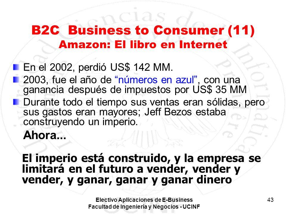 Electivo Aplicaciones de E-Business Facultad de Ingeniería y Negocios - UCINF 43 B2C Business to Consumer (11) Amazon: El libro en Internet En el 2002