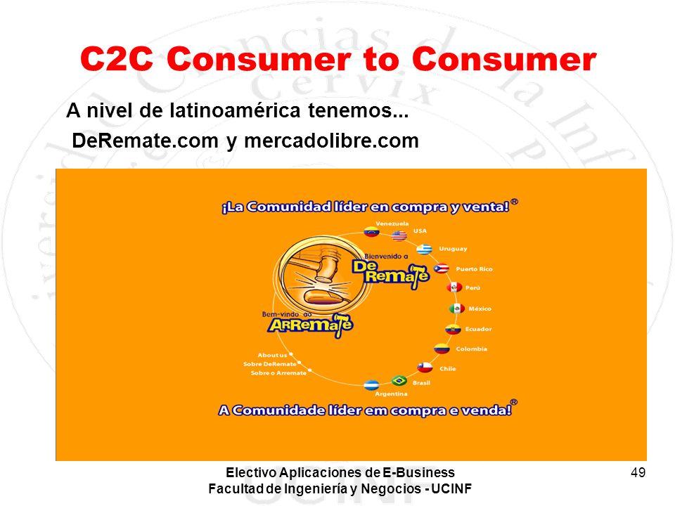 Electivo Aplicaciones de E-Business Facultad de Ingeniería y Negocios - UCINF 49 C2C Consumer to Consumer A nivel de latinoamérica tenemos... DeRemate
