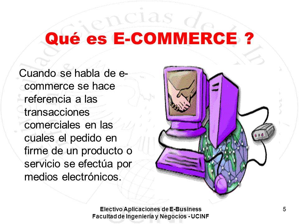 Electivo Aplicaciones de E-Business Facultad de Ingeniería y Negocios - UCINF 5 Qué es E-COMMERCE ? Cuando se habla de e- commerce se hace referencia